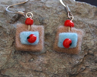 Boiled wool with red bead earrings