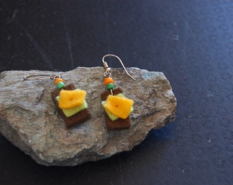 Boiled wool yellow square earrings