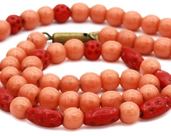 Antique 1900s Coral Necklace, Natural Red Coral, Orange Glass Beads, Beaded Coral Necklace, Real Coral Beaded Choker, Natural Coral Jewelry