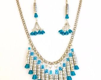 Silver Bohemian Jewelry Set, Boho Jewelry Set, Silver Platted Jewelry Set, Tribal Jewelry. Handmade .fashionable