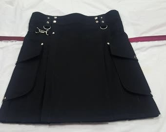 Black Cargo Fashion Kilt