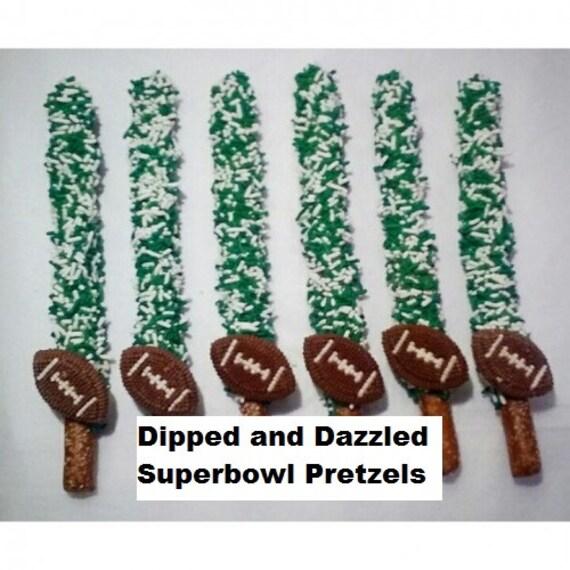 Superbowl super bowl Football Chocolate Covered Pretzels patriots falcons