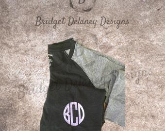 3/4 sleeved Women's monogrammed shirt, raglan shirt, monogram, personalized