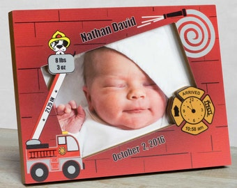 Personalized Baby Picture Frame, Baby Boy Picture Frame, Baby Boy Frame, Baby Boy Birth Frame, Baby Boy Frame, Baby Boy Fireman Frame,