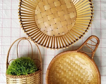 Vintage basket collection, wall baskets, basket wall