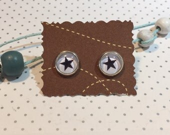 Star Stud Earrings cabochon
