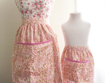 Mommy and me matching apron set in pink and gold confetti print