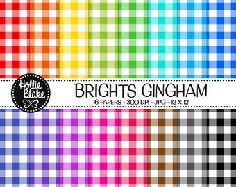 Buy 1 Get 1 Free!! 16 Bright Gingham Digital Paper • Rainbow Digital Paper • Commercial Use • Instant Download • #GINGHAM-101-B