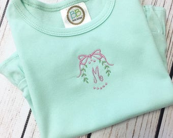 Monogrammed Wreath with Bow Shirt, Wreath and Bow Frame Monogram Shirt