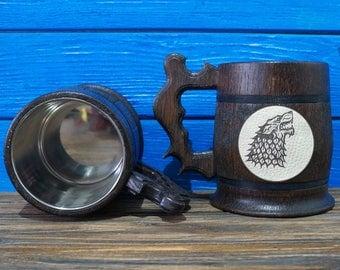 House Stark Mug, Winter is Coming, Game of Thrones Gift, GoT, Game of Thrones Inspired Gift, Beer Tankard, GoT Stein, GT06