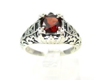 Intricate Sterling Silver & 2ct Garnet Filigree Ring Size 7 - Beautiful Antique Inspired Style