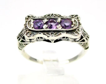 Beautiful Sterling Silver & Amethyst Gemstone Victorian Inspired Filigree Ring Size 7