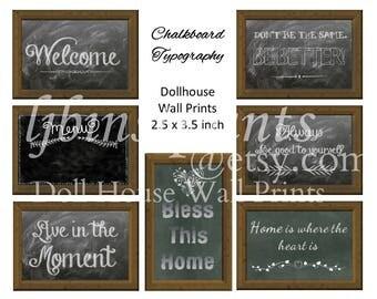 Impressions de mur de maison de poupée, Art mural maison de poupée, maison de poupée d'alimentation, Dollhouse bricolage, Doll House imprimable, Doll House tableau typographie imprimés