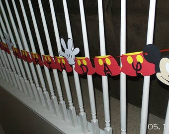 Mickey Mouse Happy Birthday banner, Mickey banner, Happy Birthday banner