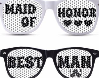Maid Of Honor and Bestman custom wedding party glasses for weddings celebration wedding sunglasses