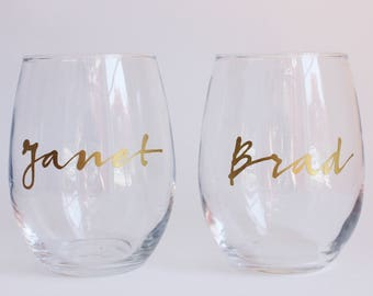 Set of 2 Custom Name Stemless Wine Glass with Writing in Gold Script Handwriting - Perfect Gift for the Wine Lover