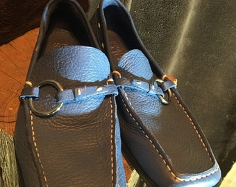 Franco Sarto size 6 m blue loafers slide on swuare toe leather shoes used on 1x