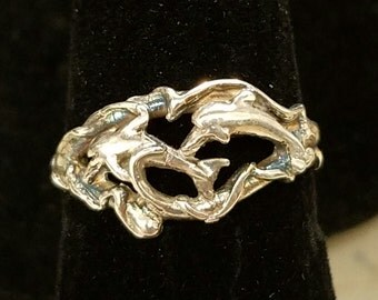 Dolphin Sterling Silver Ring / 2 Dolphins Swimming / Sterling Silver