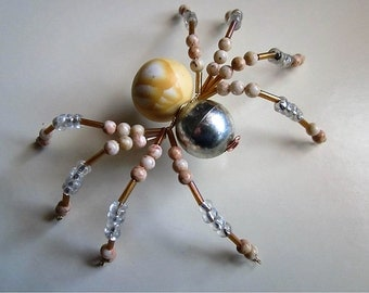 Spider Beaded, Tan,Silver,Clear,Gold.