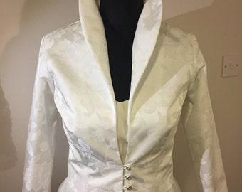 Ivory Damask Jacket Wedding Bridal Occasion Wear.