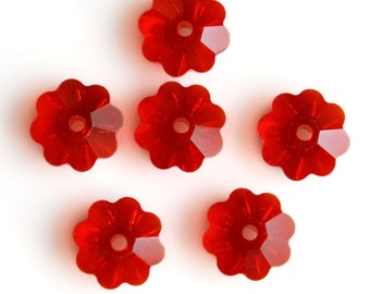 Swarovski Crystal 6mm Marguerite Lochrose (Flower) 3700 Light Siam Spacer Beads (Package of 6 Beads))
