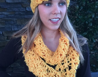 Crocheted Scarf and Headband Set