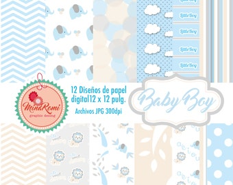 Digital Baby Boy Scrapbook Paper blue gray