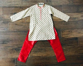 Kids boys mustache and hat print Kurta and Salwar Set/ Kids Indian Wear
