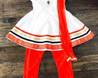 Kids girls Anarkali Dress/ Girls Chudidar Set/ White and Red Kids Indian Wear