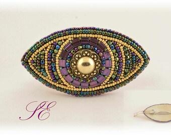 Bead embroidery, bead clasp barrette, OOAK.