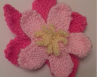 Knitted Five-Petaled Double-Layer Flower Bright Pink Light Pink Light Green Yellow Centre