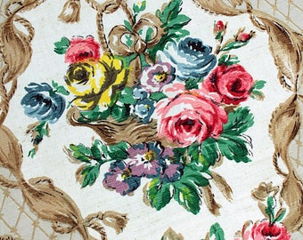 The Prettiest 1940s Rose Basket Linen Fabric