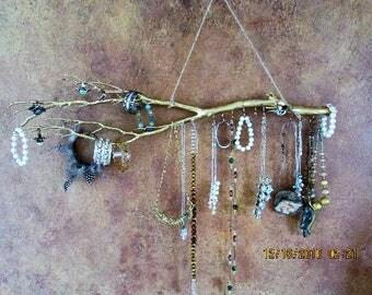 "Gold 29"" manzanita branch,wall Jewelry Display Driftwood,wall decor,Keep Jewelry Untangled from the sharp manzanita branches, using hooks,"