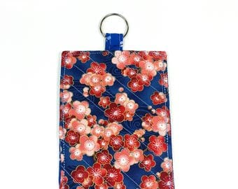 Smartphone Sleeve Case Keyring Asian Flowers Pink Red Blue
