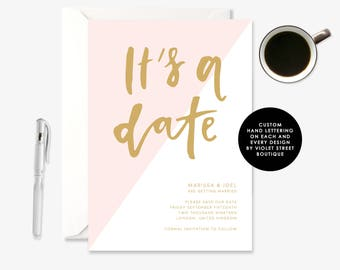 Pink and Gold Wedding Invitation, Printable Wedding Invitation, Custom Stationery, Modern Calligraphy, Minimal Wedding, Modern Invite