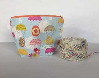 Small Knitting project bag/ Project Bag/Knitting Bag/Crochet bag/Project Bag/Drawstring Bag/Knitters/Crocheters- Easter Drop