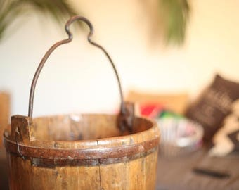Antique Wood and Iron Watering Bucket