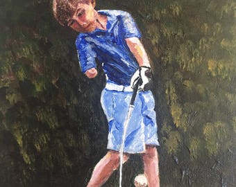 Custom painted portrait of boy playing golf
