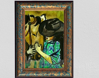 Horse Crazzy CowGirl Water Color print