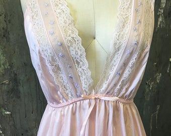 Vintage Gilead Pale Pink & Lilac floral LACE Maxi Slip DRESS lingerie Medium