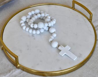 Decorative White Rosary Beads-FREE SHIPPING
