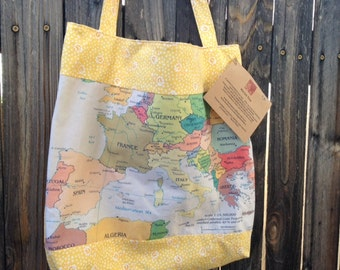 Sale! Southern EUROPE Map Tote Bag... Market Tote... Medium Everyday Bag... Book Bag, Adoption, Beach, Wedding, Travel, Destination Gift