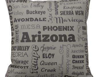 Arizona cities pillow - AZ typography throw pillow - gray, light blue, or lime green decorative pillow - Ariz. cushion