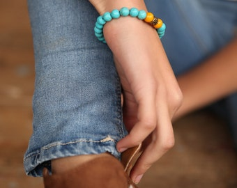 Gemstone Stretch Bracelet,turquoise Bracelet,  Beaded Bracelet, Beaded Stacking Bracelet, Stretch Bracelet, Elastic Bracelet