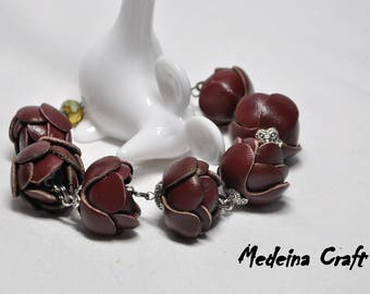 Burgundy Leather Rose Bracelet