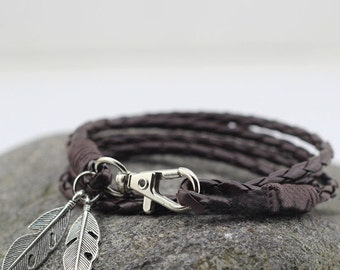 PU Leather Charm Friendship Mens Bracelet with Feathers