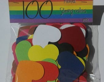 Heart/punched/strong colors/ 100 color hearts punched strong mix
