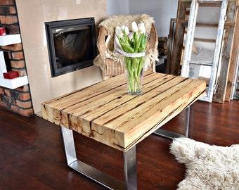 Handmade Reclaimed Wood & Steel Coffee Table Vintage Rustic Industrial  loft end table unique light  brown old wood old beams silver legs