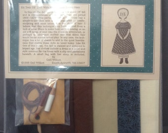 1995 Vintage Gail Wilson Kit Two: Doll With Woven Wool Fabric Hair Historical Folk Doll Series Kit ~ Unopened