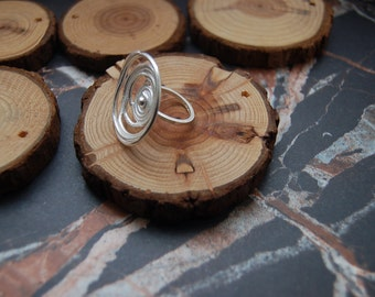Silver 'Tempest' swirl statement ring